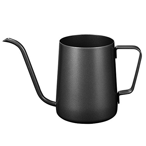 (Long Narrow Spout Coffee Pot (12 Oz) Small Fine Stainless Pour Over Drip Coffee Pot Gooseneck Tea Kettle(Black,)