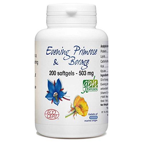 Evening Primrose and Borage - 503 mg per softgel - 200 Softgels (gelatin of marine origin)