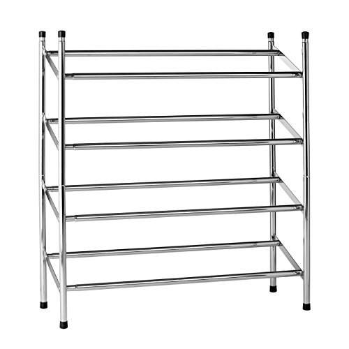 (Prime Furnishing Chrome Shoe Rack Stackable And Extendable 4 Tier)