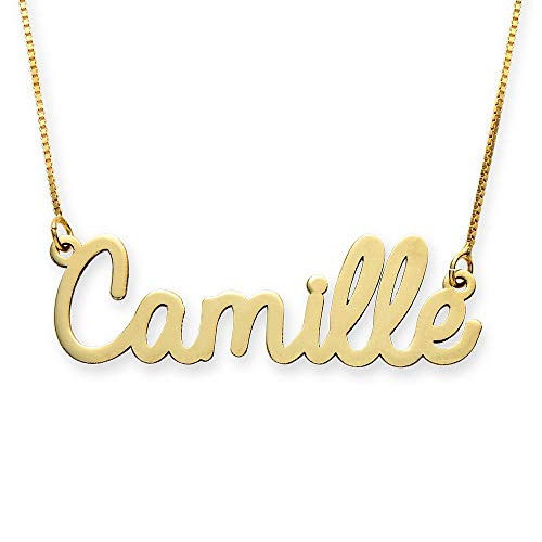 Personalized Name Necklace Cursive Font Gift- Necklace w/Name Pendant - Custom Made Jewelry! (18.0, 10K Solid Gold)