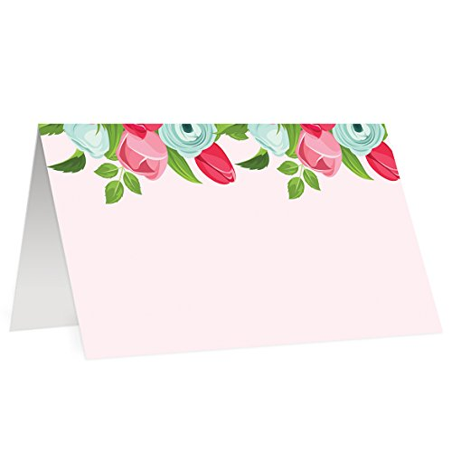 Digibuddha Place Cards (50 Pack) Pink Floral Cute Name Placecard Escort Table Tent Dinner Buffet Food Label Baby Shower Wedding Party Event Decoration Blank Handwritten 3.5 x 2 Inches