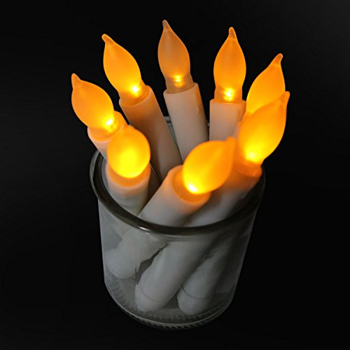 12pcs Rustic Amber Yellow Taper Candles with Timer Unscented Artificial Roman Birthday Candle Flameless Battery Operated for Wedding Performance Craft Halloween Thanksgiving Dinner Table Decoration