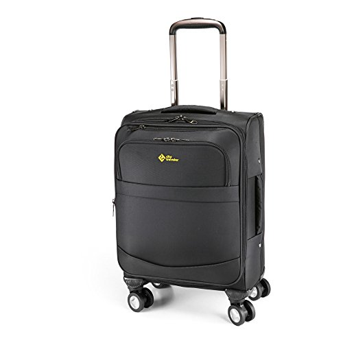 city-traveler-durable-nylon-business-suitcase-carry-on-with-spinner-wheels-easy-travel-carry-on