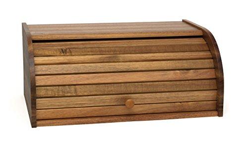 (Lipper International 1146 Acacia Wood Rolltop Bread Box, 16