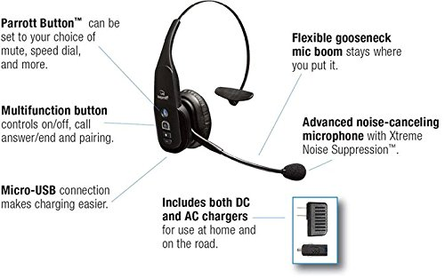 VXi BlueParrott B350-XT 95% Noise Canceling Bluetooth Headset (Renewed) 4 Talk for 24 hours, and charge via micro USB. Use VXi Updater to keep your B350-XT up to date with the latest firmware. New Parrott Button can be set to your choice of mute, speed dial and more. Be heard clearly everywhere with the industry's best noise canceling (95%).