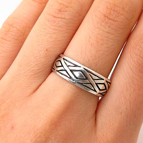 925 Sterling Silver Peter Stone Ornate Design Band Ring Size 8 1/4 Jewelry by Wholesale Charms ()