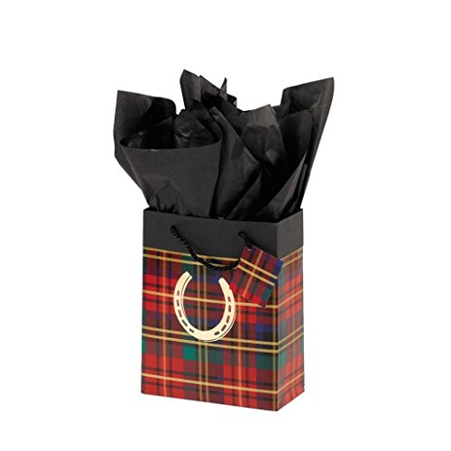 Plaid Horseshoe - Festive Plaid Cub Gift Bag - Plaid