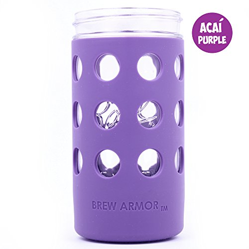 Brew Armor Silicone Mason Jar Sleeve 24 oz. 1.5 Pint Wide-Mouth by Brute Kitchen (2 Pack) (Acai Purple)