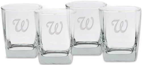 Square Double Old Fashioned (Culver Deep Etched Double Old Fashioned Glass, 13-Ounce, Monogrammed Letter-W, Set of 4)