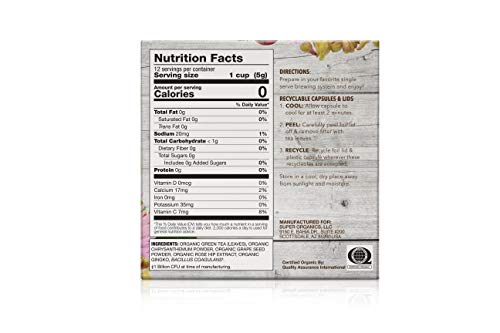 Super Organics Beauty Boost Green Tea Pods With Superfoods & Probiotics   Keurig K-Cup Compatible   Beauty Tea, Skin Care Tea   USDA Certified Organic, Vegan, Non-GMO Natural & Delicious Tea, 72ct by Super Organics (Image #1)