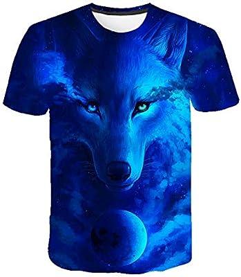 DXXHR Marca Lobo Camisa Luna Camisetas Moonlight Camiseta Hombres 3D Camiseta Animal Sexy Camisas Masculinas Japonesa para Hombre Ropa para Hombre tee: Amazon.es: Deportes y aire libre