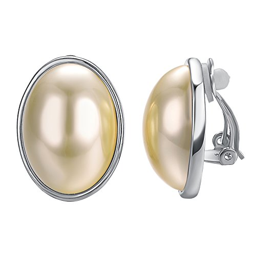 Yoursfs Clip earring Ivory pearl Round Earrings no Pierced Clip on Earrings for girl… (Oval Pearl White gold plated) (Clip On Earrings For Adults)