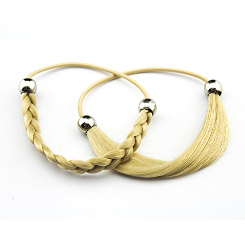 Costume Holding Your Own Head (MERRYLIGHT 2pcs Synthetic Hair Bands Elastic Twisted Braided Headband Ponytail Holders for Ladies 062324(Blonde-863))