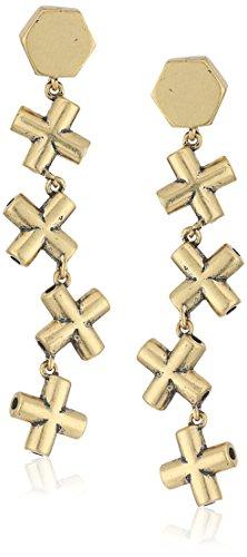 Nicole MillerArtelier Mini Crossbar Line Burnished Gold Drop Earrings