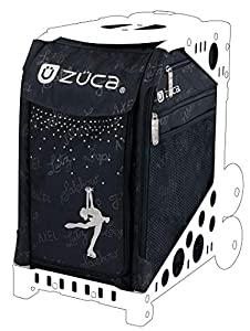 ZUCA Sport Bag - Ice Queen with Gift Lunchbox and Seat Cover (Black Non-Flashing Wheels Frame)
