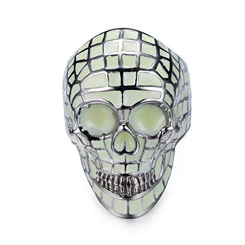 SINLEO Stainless Steel Cool Luminous Glow Skull Head Ring for Men Women Halloween Skull Jewelry Green Light Size 11 -
