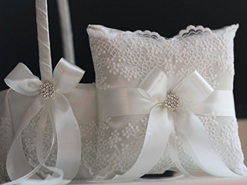 Wedding Flower Girl Basket Ring Bearer Pillow Set by Alex Emotions Off White