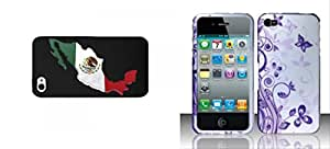 Combo pack Cellet Black Proguard Case with Mexico Flag on its Map for Apple iPhone 4 & 4S And Rubberized J5 Design for APPLE iPhone 4