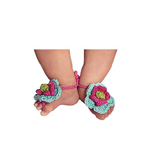 Foremost 1 Pair Newborn Baby Girl Toddlers Kid Flower Barefoot Sandals Shoes (rose red)
