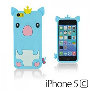 OnlineBestDigital - Piggy Style Silicone Case for Apple iPhone 5C - Light Blue