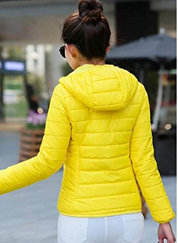 Color Hoodie Yellow Zips with Warm with Down Energy Solid Womens Coat Mini Fitted zqA70F