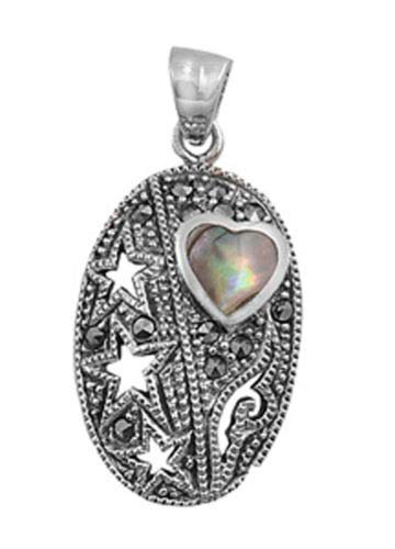 Star Heart Pendant Simulated Abalone Marcasite .925 Sterling Silver Cutout Charm