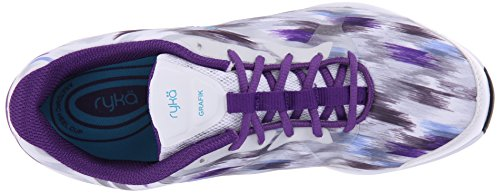 Ryka Grafik formación de la mujer zapatos White/Vapor Grey/Blast Purple/Detox Blue