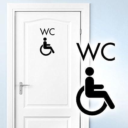 Grandora W5395 Pegatina De Pared, Adhesivo De Pared Pegatinas de Puertas con discapacidad Inodoro Silla