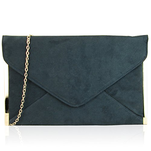 Envelope Suede UK Clutch Ladies Evening Women New Bag Flat London Medium Xardi Ink Faux Designer wfCA0qHvx