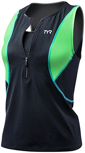 TYR Women's Competitor Loose Tri Singlet with Bra (Black/Green, - Women Singlet For