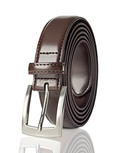 Belts for Men Mens Belt Buckle Genuine Leather Stitched Uniform Dress Belt - Brown (54)