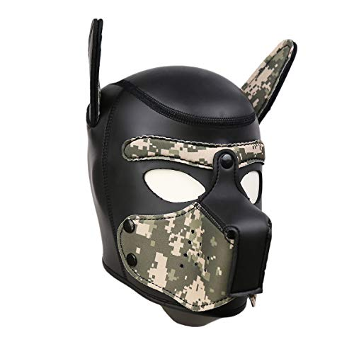 Full Face Leather - Novelty Costume Dog Head Masks Neoprene Puppy Hood Custom Animal Full Face Head Mask (L, Camouflage)