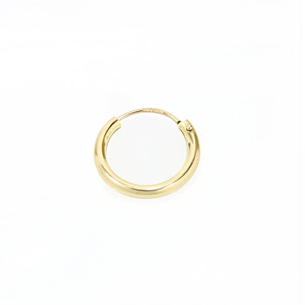 PAAR 585 gelb Gold CREOLE Ohrringe Ohrschmuck flach Goldohrringe 12mm 1843