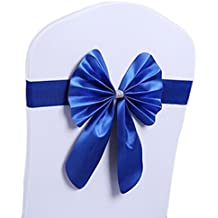 10 pieces Stretch Chair Cover Sashes Band Bow Wedding Party Supplies Banquet Venue Decor