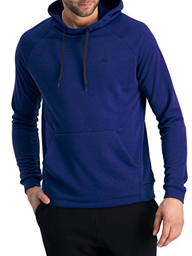 Dry Fit Mens Hoodies Pullover - Workout Sweatshirts for Men w/Adjustable Hoodie Deep Blue