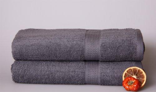 2 Duschtuch in ANTHRAZIT/ 70x140cm / 100% Baumwolle 500g/m²