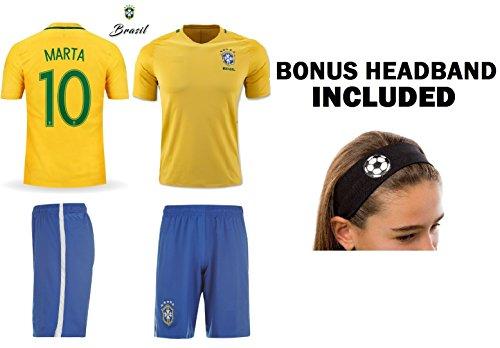 JerzeHero Brazil Marta #10 Girls Youth 3 in 1 Soccer Gift Set ✓ Soccer Jersey ✓ Shorts ✓ Soccer Headband (YM 8-10 yrs, Home Marta #10) (3 In 1 Soccer)