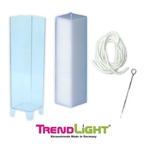 TrendLight ® 860501 - Stampo per candela, quadrato, include stoppino da 1 m, supporto per stoppino e guida, 50 x 220 mm