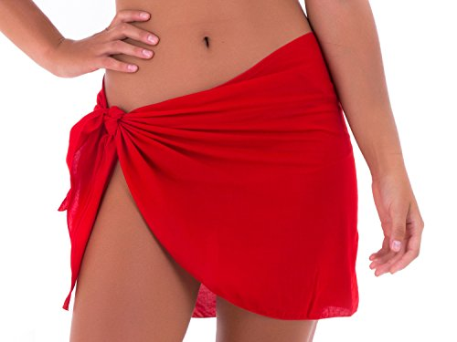 SHU-SHI Womens Mini Sarong Swimwear Bikini Cover Up Pareo Wrap Red ()