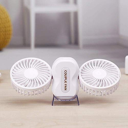 Ximosi Mini Fan, 2 Speed   Rotatable 12V 360 Dual Head Rotating Free Adjustment Auto Car Cooling Fan Powerful Silent Ventilation Dashboard Electric Car Fans Summer Cooling