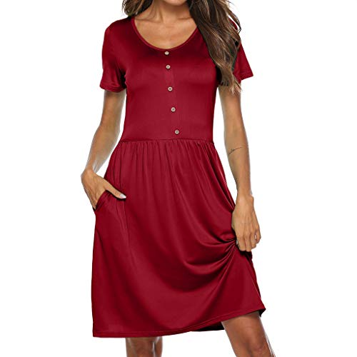 Emimarol Women Dress Casual O Neck Short Sleeve Dress Solid Button Above Knee Dress Loose Party Mini Dress - Buttons Knee Gel