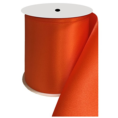 DUOQU 4 inch Wide Double Face Satin Ribbon 5 Yards Roll Multiple Colors Torrid Orange (4 Ribbon Inch Satin)