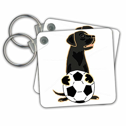 All Smiles Art Sports and Hobbies - Funny Cute Black Labrador Retriever Dog Playing Soccer - Key Chains - set of 2 Key Chains (kc_255773_1)