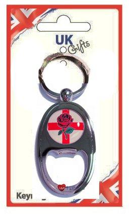 Bottle Opener Keyring St George England Rose Oblong
