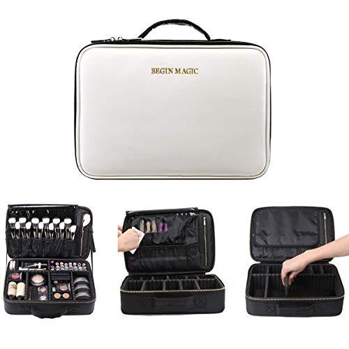 BEGIN MAGIC Portable Makeup Train Case/Travel Makeup Bag/Medium Cosmetic Organizer Case with PU Leather (black/white)