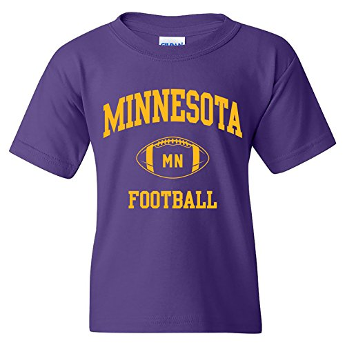 (Minnesota Classic Football Arch American Football Team Sports Youth T Shirt - X-Large - Purple)