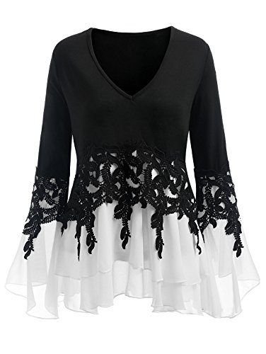 (CharMma Women's Plus Size V Neck Bell Sleeve Crochet Chiffon Insert Blouse (White and Black,)