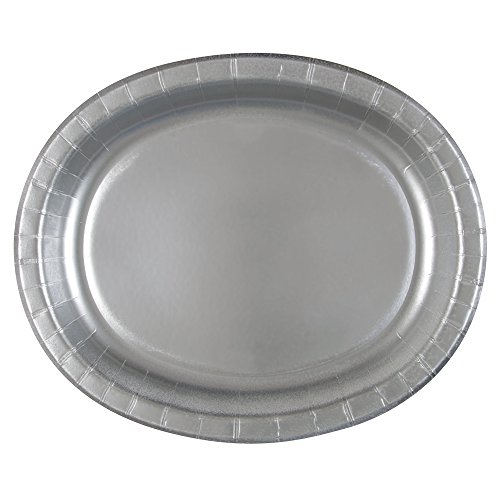 """12"""" Silver Oval Paper Plates, 8ct"""