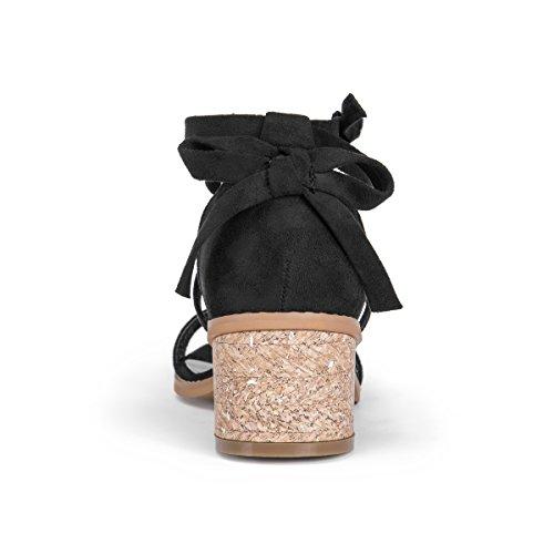 De Black Sandalias Casual Luks Sasha Mujeres Punta Tobillo Con Muk Talla Abierta Correa Yw47zxqq