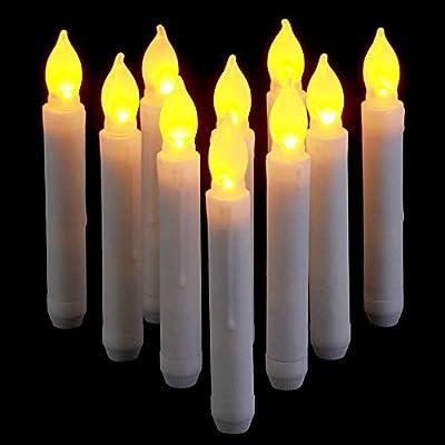 Supmaker LED Vela de luz, 12PCS Funciona con pilas Sin llama LED Taper Velas de luz para bodas Cumpleaños Decoraciones para fiestas Iglesias Amarillo, ...